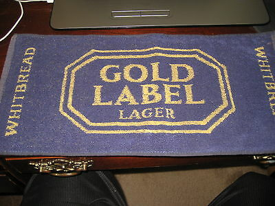 BEER BAR PUB TOWEL; Gold Label LAGER Whitbread; Vintage England / GREAT BRITIAN