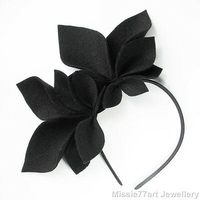 Black Fascinator Abigail Felt Side Crown Races Headpiece Horse racing Headband