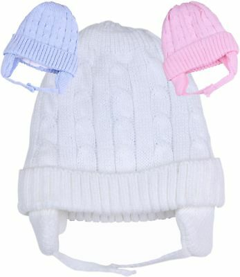 BabyPrem Baby Clothes Boys Girls Cable Knit Winter Hats with Ear Flaps 6 - 18m