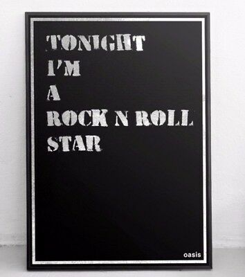 Oasis Poster - Rock and Roll Star - Typographic Lyrics / Wall Art / Print / Art