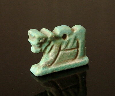 Egyptian Blue Glazed Faience Apis Bull Amulet (L382)
