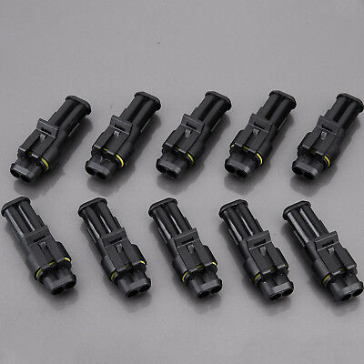 10x 2polig superseal kfz stecker set steckverbindung auto. Black Bedroom Furniture Sets. Home Design Ideas