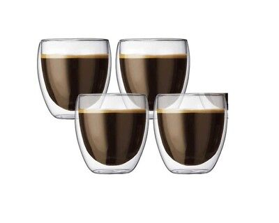 Genuine Set of 4 BODUM Pavina 250ml Double Wall Thermo Glasses Set