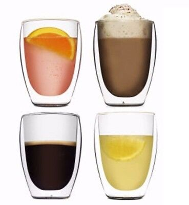 Genuine Set of 4 BODUM Pavina 350ml Double Wall Thermo Glasses Set