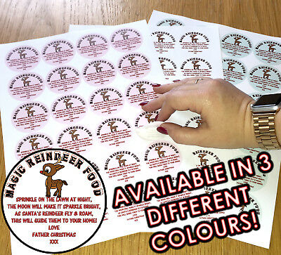 24/48/72 Magic Reindeer Christmas Food Stickers Labels - Three colours to choose