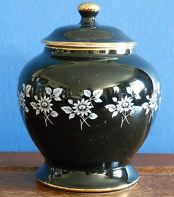 "A 6"" Prinknash Pottery Lidded Jar in black / white with gold"
