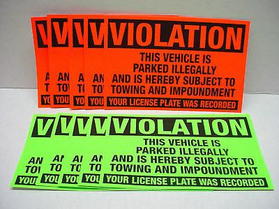 10 x VIOLATION Parked illegally Towing Impound Warning Sign NO Parking Stickers