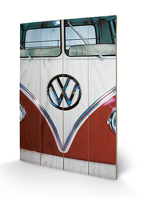 Volkswagen VW Campervan Front Split Screen - Wooden Wall Art 40 x 59cm SW11879P