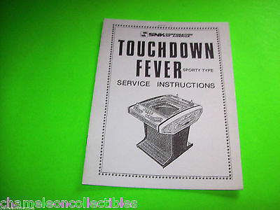 TOUCHDOWN FEVER SPORTY TYPE By SNK  ORIGINAL VIDEO ARCADE GAME SERVICE MANUAL