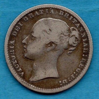 1872 Victorian Silver Shilling Coin.  Victoria Young Head 1/-.  Die Number 106