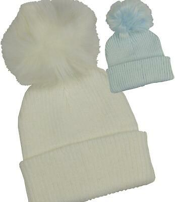 BabyPrem Baby Clothes Boys White Blue Pom Pom Winter Beanie Hat 6 - 18 months