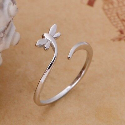 New Women Adjustable Ring Silver Girls Open-end Ring Butterfly Ring-Ladies Kids