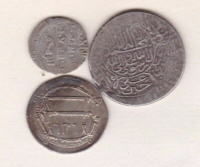 Three Islamic Silver Coins In Fair Or Better Condition