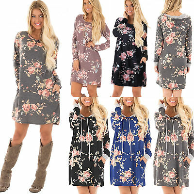 UK Womens Floral Long Sleeve Winter Casual Party Shirt Dress Ladies Jumper Tops