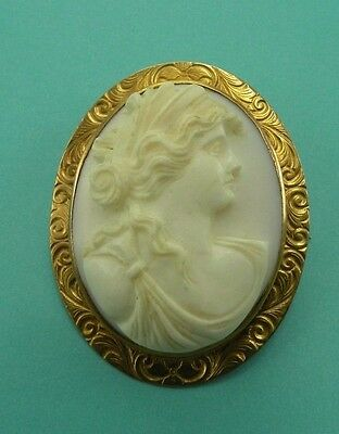 Antique Solid 10k Yellow Gold Pink White Carved Shell Cameo Pin Brooch Vtg High