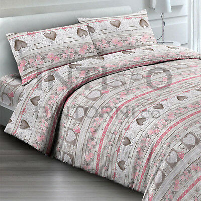 Completo Lenzuola Flanella Tirolese Love Rosa Letto Francese Cotone Made Italy
