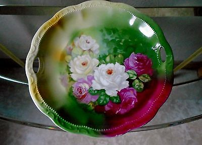 Handpainted Bavaria Red Roses Green Background Gold Open Handle Cabinet Plate