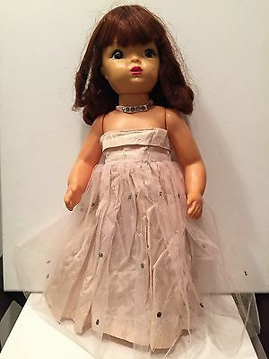 "Vintage Terri Lee 16"" brunette doll 1950's with tagged slip plus 3 extra outfits"