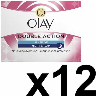 12 x Olay Double Action Anti-Wrinkle Sensitive Skin Night Cream Moisturiser 50ml