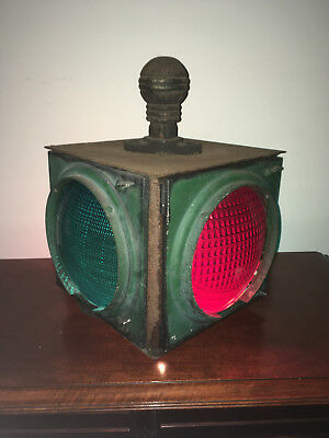 """""""LARGE"""" Antique Crouse Hinds Cast Iron 4-Way Traffic Light # HL-6818 w/25' Cord"""