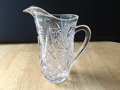 Vintage Crystal Pinwheel Star Cut Glass Water Pitcher