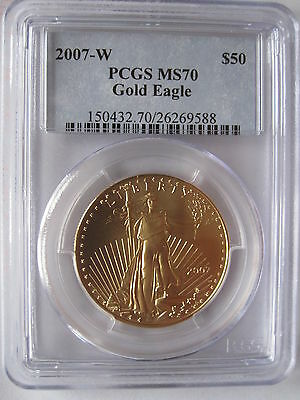 2007-W Burnished $50 GOLD EAGLE PCGS MS70