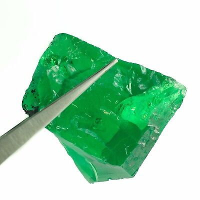 61.4gr Tsavorite Green Garnet (YAG) LabCreated Faceting Rough Stone