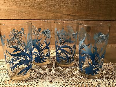 Vintage Set of Four Glass Tumblers With Blue Ombre Flower Design