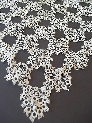 "Antique Tatted Doily  Square 16x17"" pre 1920's era Vintage White Loopy design"