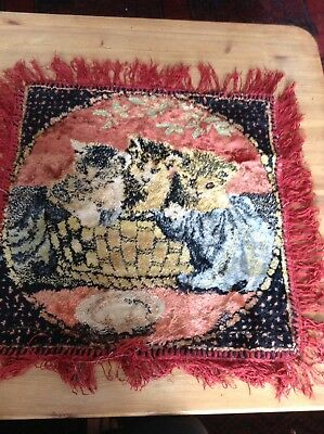 Vintage CHENILLE CUSHION COVER KITTENS In A Basket Kitsch