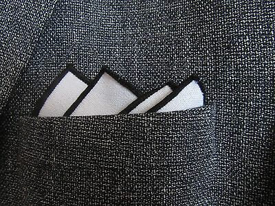 White  pocket square handkerchief hanky black edge unisex mod