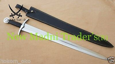 """35"""" D2 Steel 14Th Century Medieval Leather Wrap Handle Sword"""