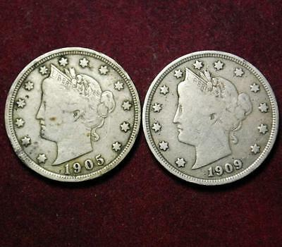 USA Liberty nickel 5 cents set of 2 coins: 1905 & 1909