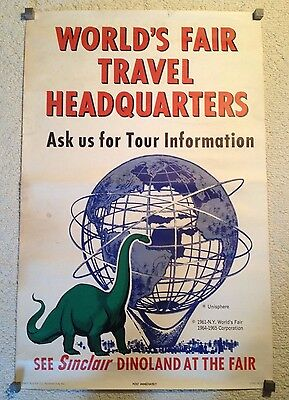 NY World's Fair Original Sinclair Oil Dinoland and Unisphere Promotional Poster