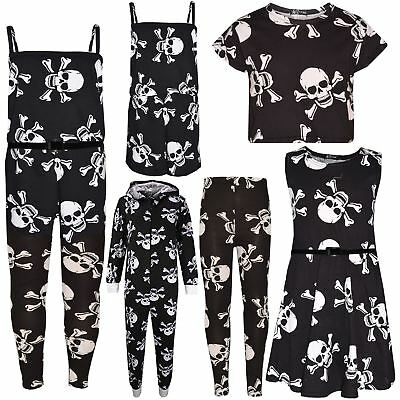Kids Girls Boys Halloween Skull Print Crop Top Legging Skater Dress Costume 5-13