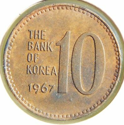 South Korea 1967 10 Won About Uncirculated, Key Date, Nice Bronze Coin!