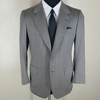 *brioni* Gray Blazer (Vtg 1980's) 2 Button Side Vents 100% Wool 40 Short