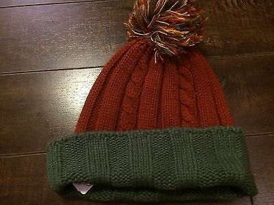 TALBOTS KIDS Acrylic Knit Orange Winter Beanie Hat - Size S/M - NWT