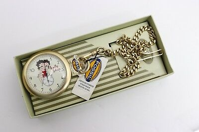 Vintage Fossil Limited Edition 1996 Betty Boop Pocket Watch For Parts Repair