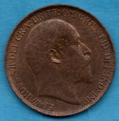 1907 Edward Vii Halfpenny Coin.  Lovely Condition.