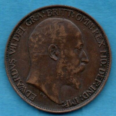 1905 Edward Vii Halfpenny Coin.  Lovely Condition.