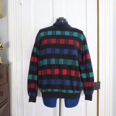 Colorful 80s Sweatshirt Vintage Women's Size Large XL Black Checkered Checked