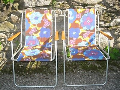 Vintage 60' 70' Lot x2 ANCIENNE CHAISE de CAMPING PLIANTE A FLEURS Chair Flower