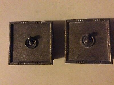 Vintage Brass Light Switch Square Plate Art Deco Antique Old England X 2