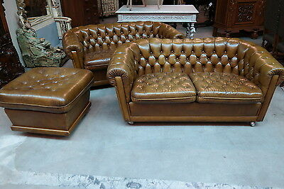 AFFORDABLE English Chesterfield 3 Piece Tufted Leather Salon Set Light Brown