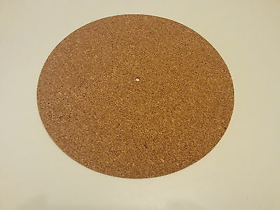 CORK TURNTABLE / PLATTER MAT - 3mm THICK + FREE 1 PLASTIC RECORD SLEEVES 12""