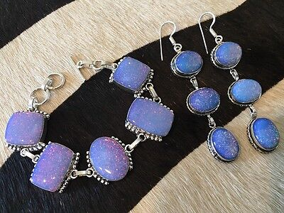 Artistan Style Opal Large 5) Station Bracelet and Earring Set Stamped 925