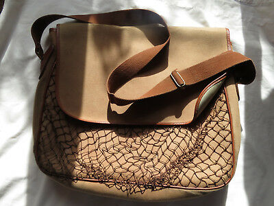 Vintage Shoulder  Fishing / Game Bag With Netted Front