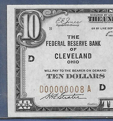 """1929 $10 Frbn """"cleveland"""" W/single Digit S/n ♚♚D00000008A♚♚  Pcgs Very Ch New 64"""