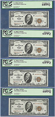 (4) Consecutive 1929 $10 Frbn    ♚♚ Chicago ♚♚   Pcgs 63&64 Ppq